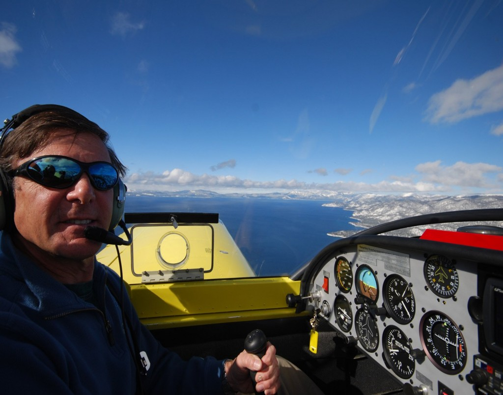 Flying Zodiac above Lake Tahoe, cockpit view