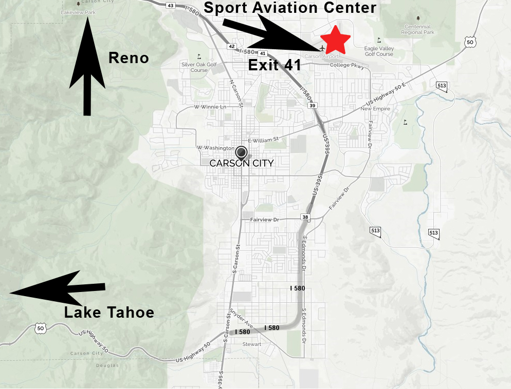 Sport Aviation Center Carson City Airport Carson City NV Location Map